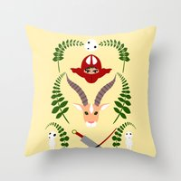 kodama Throw Pillows featuring Ashitaka,Yakul,Kodama by Rcdbstp21