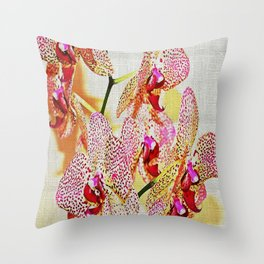Painted Spotted Orchids Throw Pillow