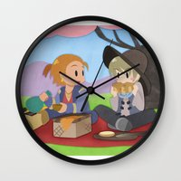 dragon age inquisition Wall Clocks featuring Dragon Age - Varric and Cole Picnic by Choco-Minto