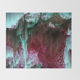 Amoeba - Abstract Glitchy Pixel Art Throw Blanket