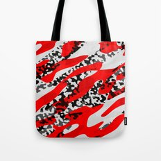 red and Black Camo abstract Tote Bag