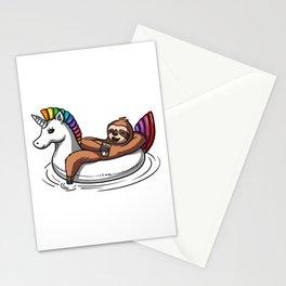 Lazy Sloth Riding Unicorn Float Pool Party Stationery Cards
