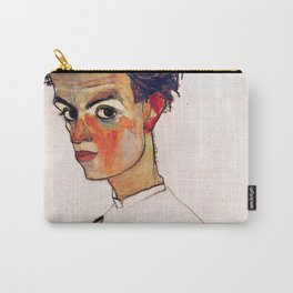 Egon Schiele - Self-Portrait with Striped Shirt 1910 Carry-All Pouch