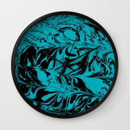 Suminagashi 2 turquoise and white marble spilled ink ocean swirl watercolor painting Wall Clock