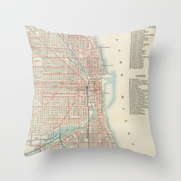 Vintage Chicago Railroad Map (1893) Throw Pillow