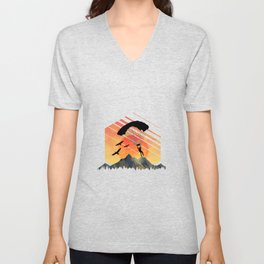 Vintage TEE Sun Sunset Clothing Parachute Unisex V-Neck