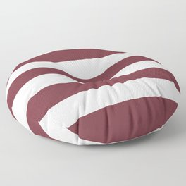 Puce red - solid color - white stripes pattern Floor Pillow