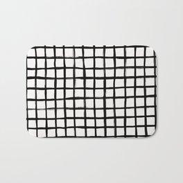Strokes Grid - Black on Off White Bath Mat