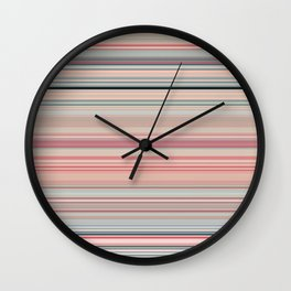 Pink Peach Pastel Stripe Design Wall Clock
