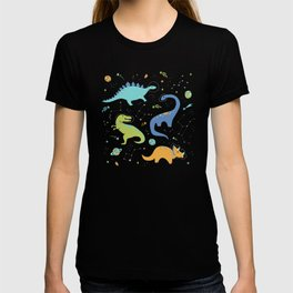 Space Dinosaurs on White (Orange + Blue) T-shirt
