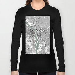 Portland, OR City Map Black/White Long Sleeve T-shirt