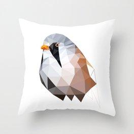 Bearded reedling Geometric bird art Throw Pillow