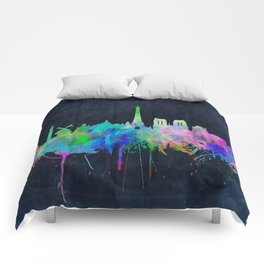 Paris skyline waterolor 2 Comforters
