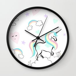 Standing tall Unicorn on cloud and heart pattern Wall Clock