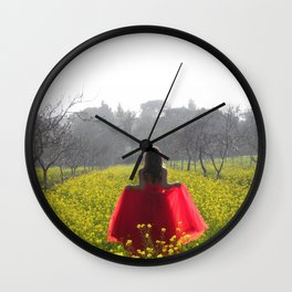 Red Dress Fantasy Wall Clock