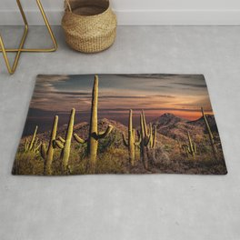 Painted Sky over Saguaro Cactuses in Saguaro National Park Rug