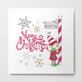 Merry Christmas Elf Metal Print