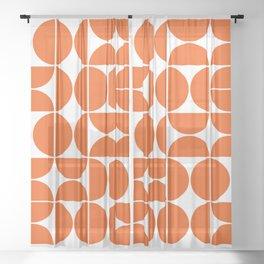 Mid Century Modern Geometric 04 Orange Sheer Curtain