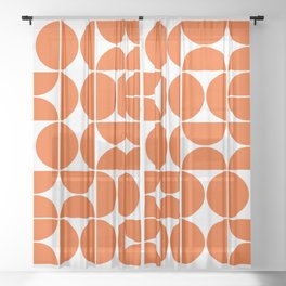 Mid Century Modern Geometric 04 Orange Sheer Curtain