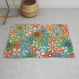 Mid Century Modern Flower Patch // Poppy Red, Coral, Salmon, Green, Blue Rug