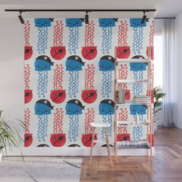 Pattern Of Pirate Jellyfishes, Sea Life - Red Blue Wall Mural