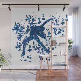 Figure Skating Layback Silhouette with Abstract Paint Design Wall Mural