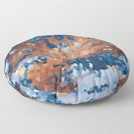 Copper and Denim Abstract Floor Pillow