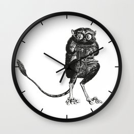 Say Cheese!   Tarsier with Vintage Camera   Black and White Wall Clock