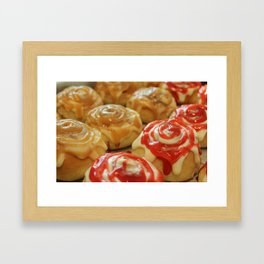 Homemade baking. Buns with berry jam  and cream. Framed Art Print