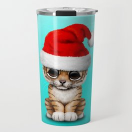 Christmas Tiger Wearing a Santa Hat Travel Mug