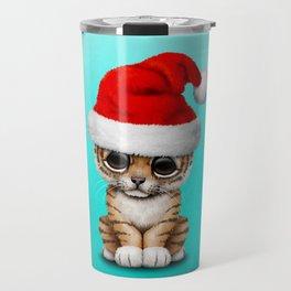 Christmas Tiger Wearing a Santa Hat Travel Mug