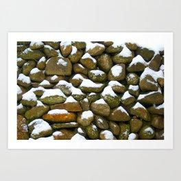 Stone Cold - Snowy Stones - Rock Art Art Print