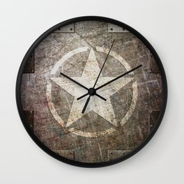 Army Star on Distressed Riveted Metal Door Wall Clock