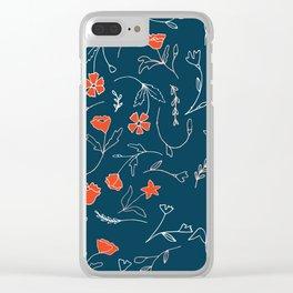 Orange pink pastel navy blue modern floral Clear iPhone Case