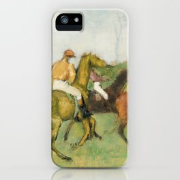 Jockeys and Race Horses (ca. 1890–1895) painting in high resolution by Edgar Degas iPhone Case