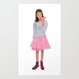 A girl playing ocarina Art Print