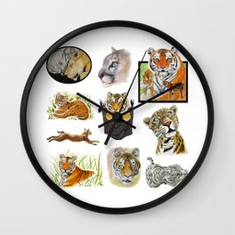 Big Cat Sticker Pack 1 Wall Clock