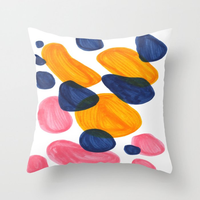 Mid Century Modern Minimalist Abstract Colorful Bubbles Pebbles Yellow Navy Blue Pink Throw Pillow