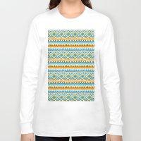ikat Long Sleeve T-shirts featuring Desert Sunrise Ikat by virginia odien