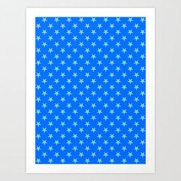 Baby Blue on Brandeis Blue Stars Art Print