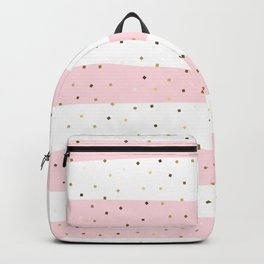 Simple Christmas seamless pattern Golden Confetti on Pastel Pink and White Stripes Background Backpack