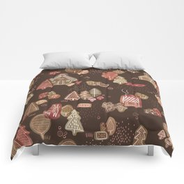 Hansel and Gretel Fairy Tale Gingerbread Pattern on Brown Comforters