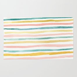 Pink, Teal, and Gold Stripes Rug