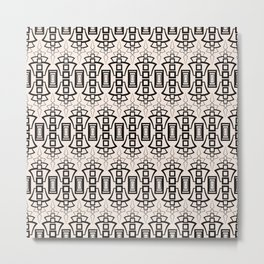 Art Deco 12 . Black and beige pattern . Metal Print