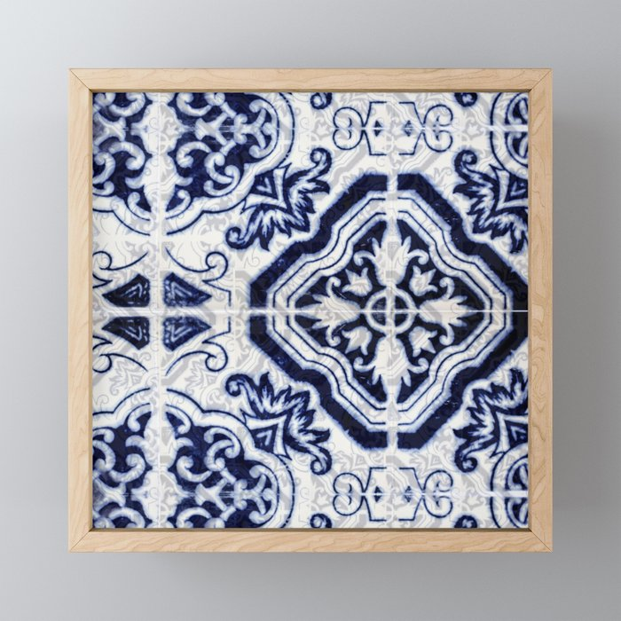 Azulejo VI - Portuguese hand painted tiles Framed Mini Art Print