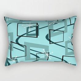 Mid Century Modern Minimalism Turquoise Rectangular Pillow
