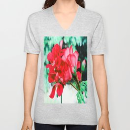 Red FlowERS Green Bokeh Unisex V-Neck