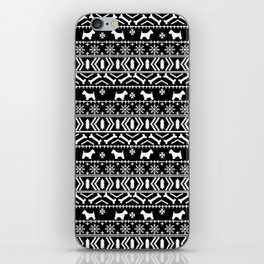 Westie fair isle west highland terrier christmas holiday gifts dog pattern black and white iPhone Skin