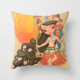 Luau Lulu Throw Pillow