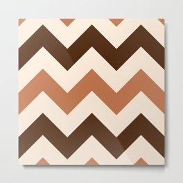 Wide Retro Zigzag Pattern Cream Rust Brown Metal Print